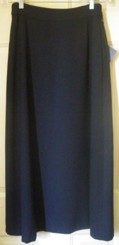 CATHERINE STEWART Long Navy Blue WOOL BLEND A-Line Skirt size 4 *NWT*