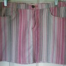 FOREVER 21 Pink STRIPED STRETCH Mini Skirt size L