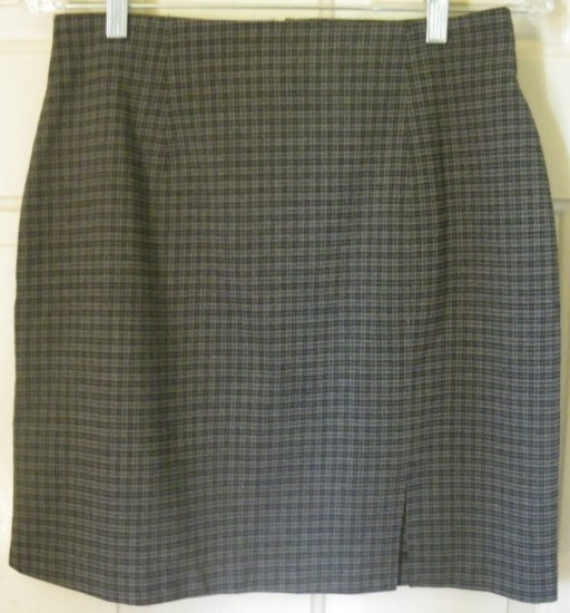 BENTLEY Gray Above-Knee STRETCH PLAID Skirt size 12