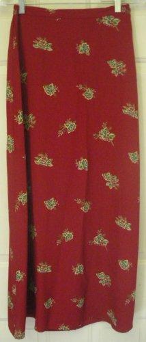 VILLAGER LIZ CLAIBORNE Long Red FLORAL PRINT Skirt size 6