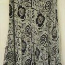 RALPH LAUREN Black & White Mid-Calf FLORAL PRINT SILK Skirt size M