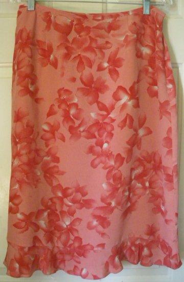 JOSEPHINE CHAUS Pink Below-Knee FLORAL PRINT SILK Skirt size 10