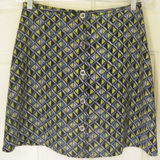 MY MICHELLE Black Multi-Color Above-Knee BUTTON-FRONT Print Skirt size 9/10