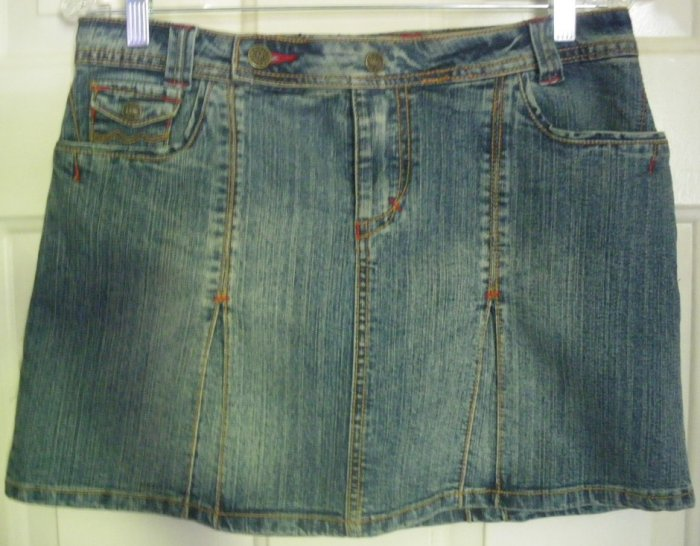 MAGIC Blue Mid-Thigh Low-Waist STRETCH DENIM Skirt size 5