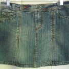 MAGIC Blue Mid-Thigh Low-Waist STRETCH DENIM Skirt size 5
