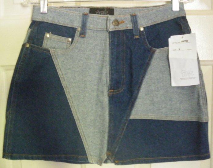 I.N.K. Blue Mid-Thigh STRETCH PATCHWORK DENIM Skirt size L *NWT*