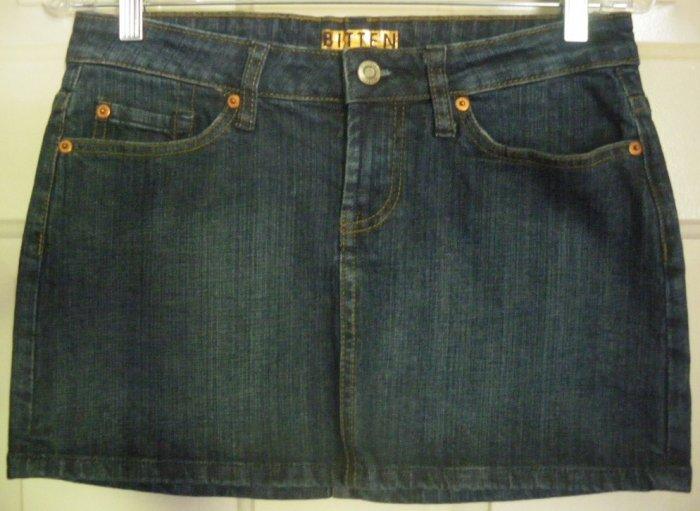 Sarah Jessica Parker's BITTEN Blue Low-Waist STRETCH DENIM Mini Skirt size 2