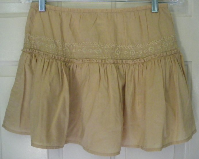 OLD NAVY Caramel TIERED EMBROIDERED Mini Skirt size XS