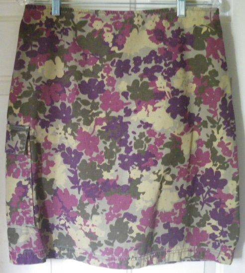 CALVIN KLEIN JEANS Olive Purple Knee-Length FLORAL PRINT DENIM Skirt size 8