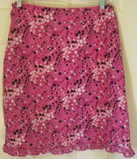 XHILARATION Pink Knee-Length DOTTED Skirt size L