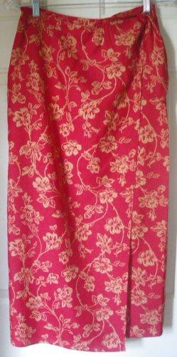RALPH LAUREN Red Mid-Calf Floral Print SILK/LINEN WRAP Skirt size 6P