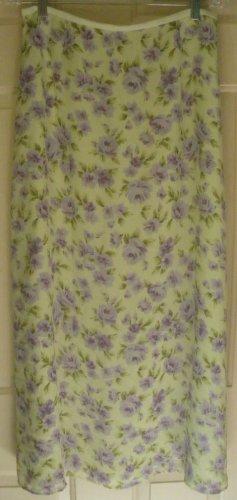 EMMA JAMES Long Green FLORAL PRINT Skirt size 10