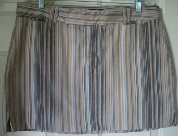 R WEAR RAMPAGE Brown Tan Mid-Thigh STRIPED STRETCH Skirt size 13
