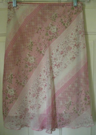 EXACT CHANGE Pink Knee-Length FLORAL PRINT Skirt size S