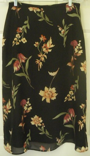 NORTON MCNAUGHTON Long Black FLORAL PRINT Skirt size 12P