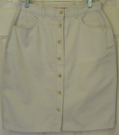 GLORIA VANDERBILT Beige Knee-Length BUTTON-FRONT Skirt size 10