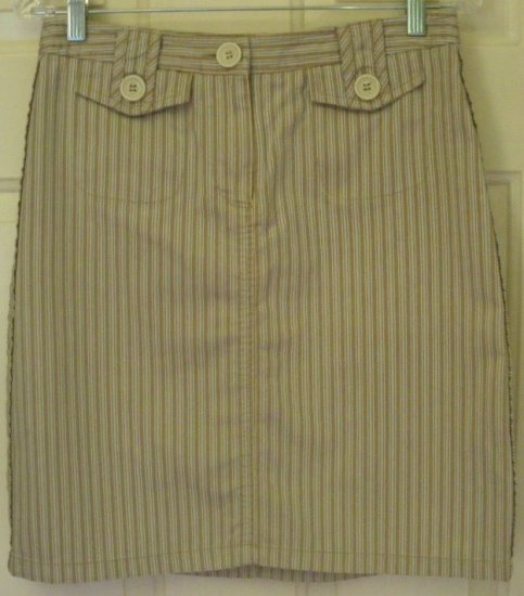 THE LIMITED Tan Above-Knee STRIPED Skirt size 6