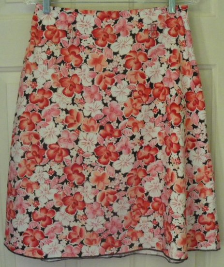 NOTATIONS Red Knee-Length STRETCH FLORAL PRINT Skirt size M