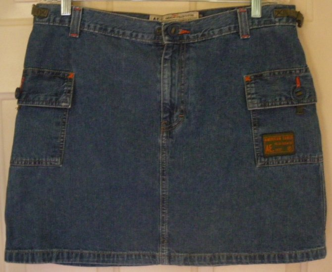 AMERICAN EAGLE OUTFITTERS Blue Mid-Thigh DENIM CARGO Skirt size 12