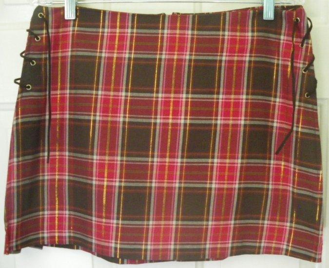 POWDER BLU Red & Brown Mid-Thigh PLAID Skirt size 11