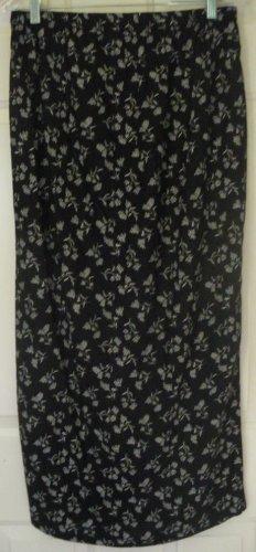 MEG LAUREN Long Black FLORAL PRINT Skirt size M