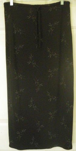 GAP Long Black Gray FLORAL PRINT Column Skirt size M