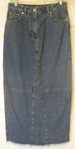 LAUREN JEANS CO. RALPH LAUREN Long Blue FRINGED DENIM Skirt size 8