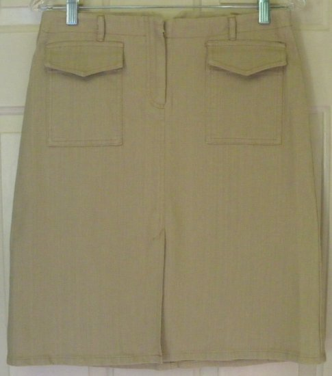 TO THE MAX! Tan Above-Knee STRETCH DENIM Skirt size 5