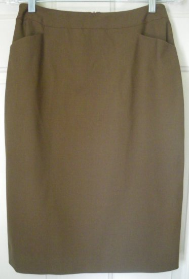 JONES NEW YORK Brown Knee-Length STRETCH WOOL Pencil Skirt size 6