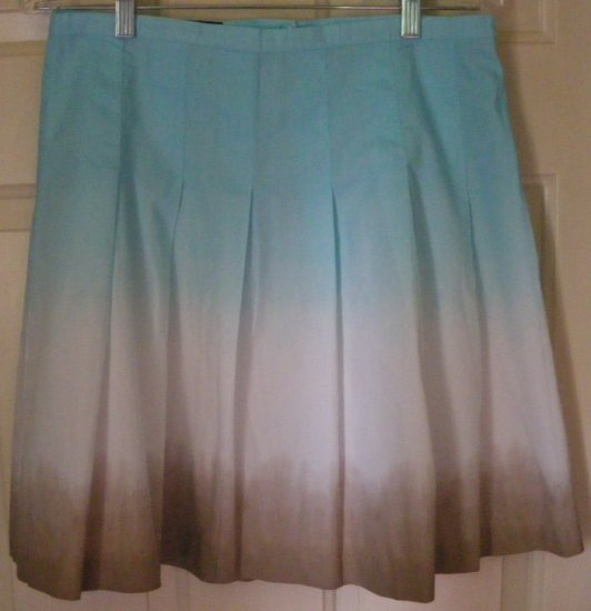 DAISY FUENTES Blue White Tan Knee-Length PLEATED Skirt size 4P