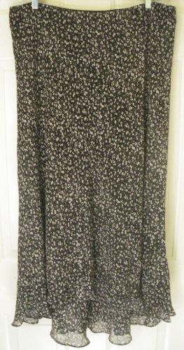RALPH LAUREN Long Black SILK FLORAL PRINT Skirt size 16W