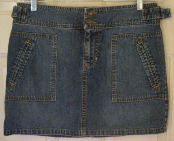 OLD NAVY Blue Mid-Thigh Low-Waist DENIM Skirt size 6