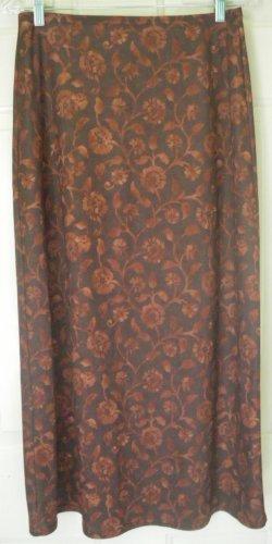 JAZZ SPORT Long Brown FLORAL PRINT Skirt size M