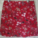 BRIGGS Red Above-Knee STRETCH FLORAL PRINT Skirt size 16