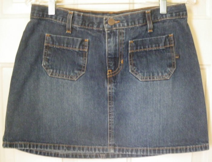 ABERCROMBIE & FITCH Blue Mid-Thigh Low-Waist DENIM Skirt size 6