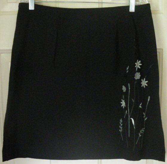 VENEZIA JEANS Black Above-Knee STRETCH EMBROIDERED Skirt size 16