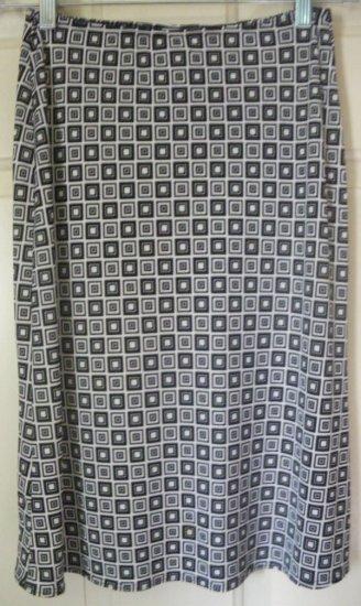 NEWPORT Black & White Knee-Length STRETCH PRINT Skirt size S