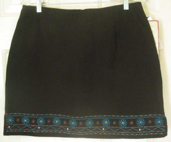ROUTE 66 Black Mid-Thigh EMBROIDERED DENIM Skirt size 11/12 *NWT*