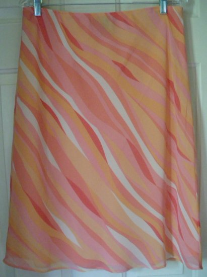 APOSTROPHE Orange Knee-Length PRINT Skirt size L