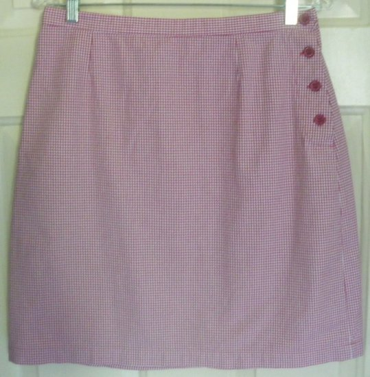 CHRISTOPHER & BANKS Raspberry Above-Knee CHECKERED Skirt size 8