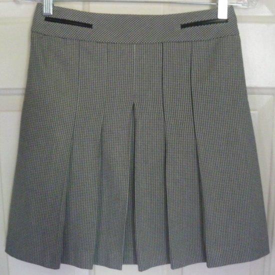 ANN TAYLOR LOFT Black & White Above-Knee STRETCH PLAID PLEATED Skirt size 0P
