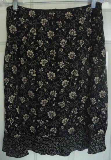 OLD NAVY Black Knee-Length PRINT Skirt size 8