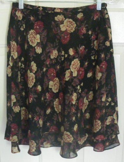 EXPRESS Black Knee-Length FLORAL PRINT Skirt size S
