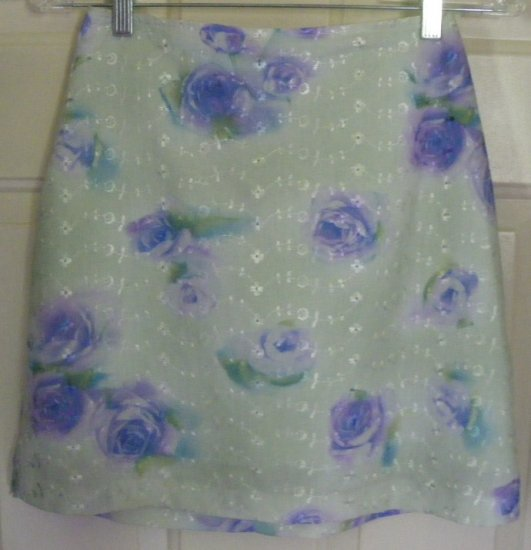 EXACT CHANGE Green Above-Knee FLORAL PRINT Skirt size 3