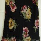 RALPH LAUREN Black Knee-Length FLORAL PRINT Skirt size 6