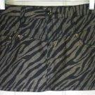 BOOM BOOM JEANS Black, Gray, & Gold STRETCH TIGER PRINT Mini Skirt size 3
