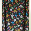 SAG HARBOR Long Black BELTED BUTTON-FRONT Floral Print Skirt size S
