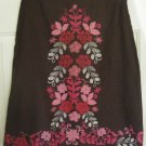 NINE & COMPANY Brown Knee-Length LINEN Blend Floral Print Skirt size 6