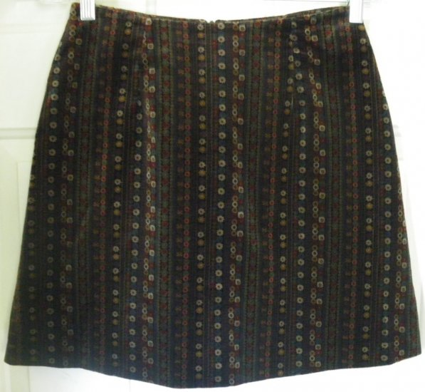 EXPRESS Dark Multi-Color Mid-Thigh VELVET Print Skirt size 3/4