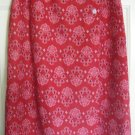 COLDWATER CREEK Long Red LINEN Blend Print Wrap Skirt size PS